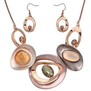 Rose Gold and Gray Statement Set